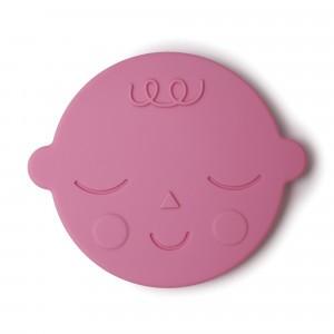 Mushie Silicone Bijtring Face Bubblegum