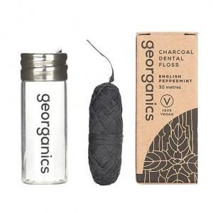 georganics Actieve Kool Flosdraad - English Peppermint (met dispenser)