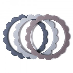 Mushie Bijtring Flower Bracelet (3-pack) Steel/Dove Gray/Stone