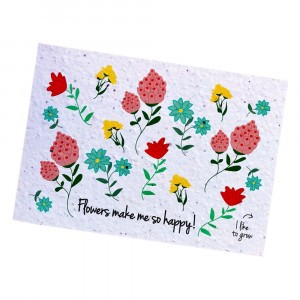 "Bloom Your Message Postkaart Flowers ""Make me Happy"""