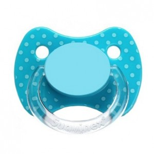 Suavinex Fopspeen Fysiologisch Silicone + 0 maanden Blauw dots