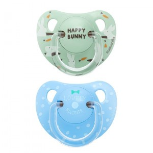 Suavinex fopspeen Anatomisch Silicone +18 maanden duo Lovely Biscuits & Happy Bunny