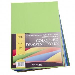 Aurora Knutselpapier A4 100 vellen, 10 kleuren