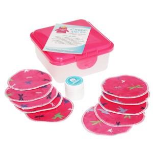 Cheeky Wipes Gezichtsreinigingskit met Minky Pads Libel en Vogels Roze