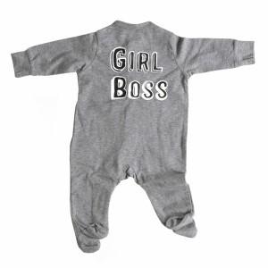 Cos I Said So Newborn Onesie met voetjes 'Girl Boss' Anthraciet
