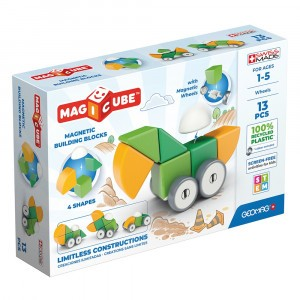 Geomag Magnetisch Speelgoed Magicube 4 Shapes Green Line Wheels 13-delig