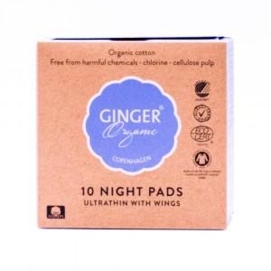 Ginger Organic Maandverband Nacht (met vleugels) individueel verpakt (10 stuks)