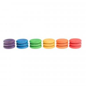 Grapat 18 houten munten (6 kleuren)