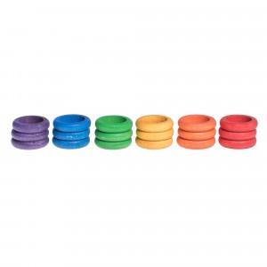 Grapat 18 houten ringen (6 kleuren)