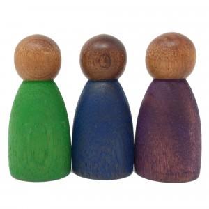 Grapat 3 houten nins poppetjes in koude kleuren