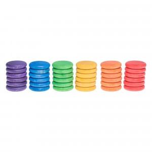 Grapat 36 houten munten (6 kleuren)