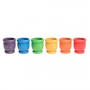 Grapat 6 houten potjes (6 kleuren)