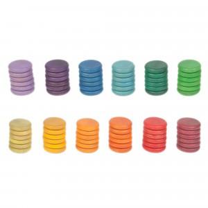 Grapat 72 houten munten (12 kleuren)