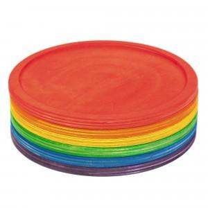 Grapat 6 houten speelborden regenboog
