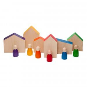 Grapat 6 houten poppetjes en huisjes