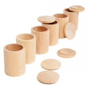 Grapat 6 houten potjes met deksel natuur