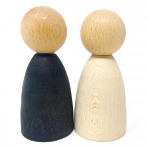 Grapat 2 volwassen nins poppetjes in licht hout