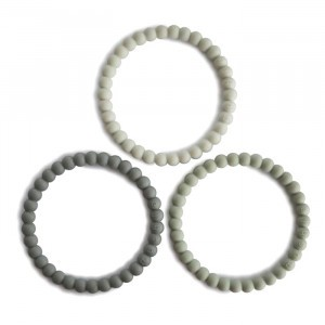 Mushie Silicone Bijtring Bracelet (3-pack) Green Tea/Cool Gray/Sea Salt