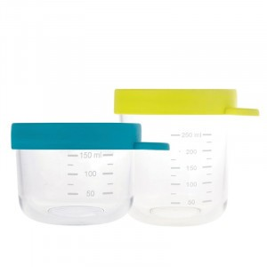 Beaba 2 Glazen Bewaarpotjes - Blauw/ Groen (150 ml/ 250 ml)