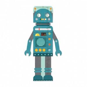 Petit Collage Groeimeter Robot Blauw