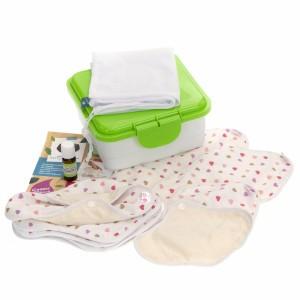 Cheeky Wipes Uitwasbaar Maandverband Organisch Katoen Volledige Kit Multi Heart Pastel - Groene doos