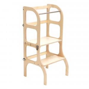 Ette Tete Keukenhulpje 'Helper Tower - table Step'n Sit' Wooden/Silver