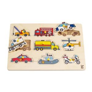 Hape Knoppuzzel Eerste hulp voertuigen (9 stukken)