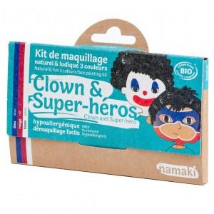 "Namaki Gezichtsverf  Kit 3 Kleuren ""Clown & Superhelden"""