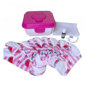 Cheeky Wipes Uitwasbaar Maandverband Minky & Bamboe Volledige Kit Twisting my Melon - Roze Doos