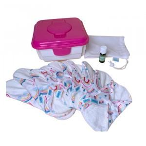 Cheeky Wipes Uitwasbaar Maandverband Minky & Bamboe Volledige Kit Over the Rainbow - Roze Doos