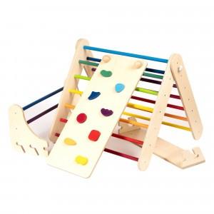 Leg & go Muur- en Klimrek 'Pikler Triangle' + Ramp Rainbow