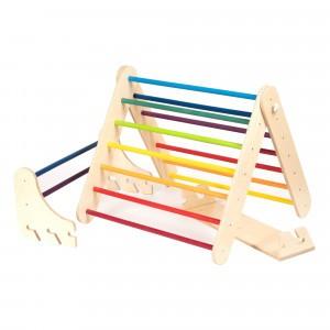 Leg & go Muur- en Klimrek 'Pikler Triangle' Set 2-in-1 Rainbow