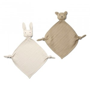 Liewood Yoko Mini Knuffeldoekje (2-pack) Sandy/Stone Mix