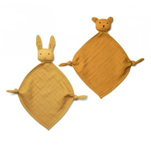 Liewood Yoko Mini Knuffeldoekje (2-pack) Yellow Mix