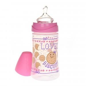 Suavinex Fles Anatomisch Silicone 0-6 maand Medium flow 270 ml Lovely Biscuits Roze