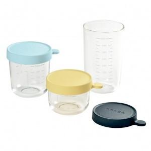 Beaba Glazen Bewaarpotjes - 3 stuks (150 ml + 250 ml + 400 ml)
