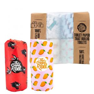 The Good Roll Gerecycleerd Toiletpapier Cheerfull (4 rollen) Paperbag + Gerecycleerde Keukenrol The Cheerfull Choice (2 rollen)