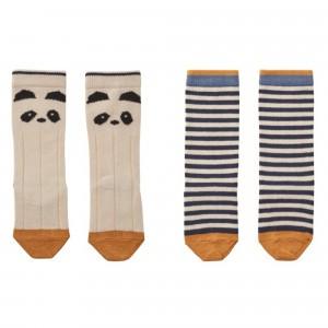 Liewood Kniekousjes Panda/Ecru Gestreept (2 pack)