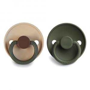 Frigg Fopspeen Fysiologisch Latex 0-6 maanden (2-pack) Colorblock Acorn/Olive