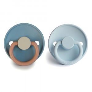 Frigg Fopspeen Fysiologisch Silicone 0-6 maanden (2-pack) Colorblock Breeze/Baby Blue