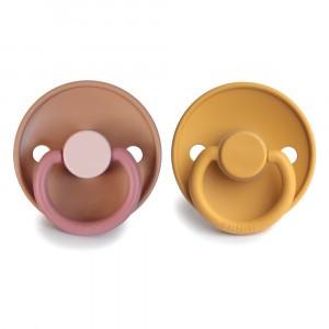 Frigg Fopspeen Fysiologisch Latex 0-6 maanden (2-pack) Colorblock Flamingo/Honey Gold