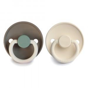 Frigg Fopspeen Fysiologisch Latex 0-6 maanden (2-pack) Colorblock Hudson Bay/Cream