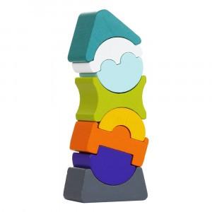 Cubika Houten Blokken Scheve Toren (8 stuks) Blauw