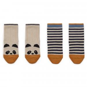 Liewood Sokken Panda/Ecru Gestreept (2 paar)