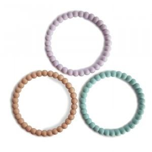 Mushie Silicone Bijtring Bracelet (3-pack) Lilac/Cyan/Soft Peach