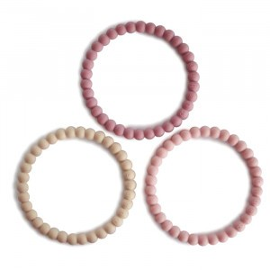 Mushie Silicone Bijtring Bracelet (3-pack) Linen/Peony/Pale Pink