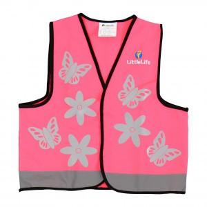 Littlelife Reflecterend veiligheidsvestje Roze Vlinder