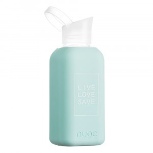 Nuoc Glazen Drinkfles 'Live Love Save' Biarritz Light Blue (500 ml)
