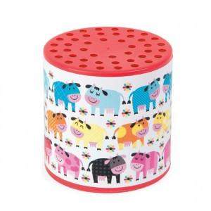 Janod loeidoos kleurrijke koeien in de wei rood