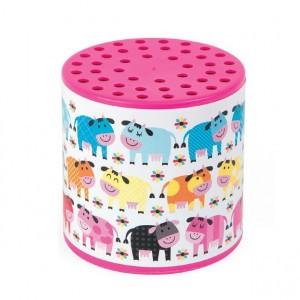 Janod loeidoos kleurrijke koeien in de wei roze
